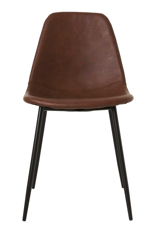 House doctor forms spisebordsstol, brun kunstlæder, uden armlæn fra house doctor fra boboonline.dk
