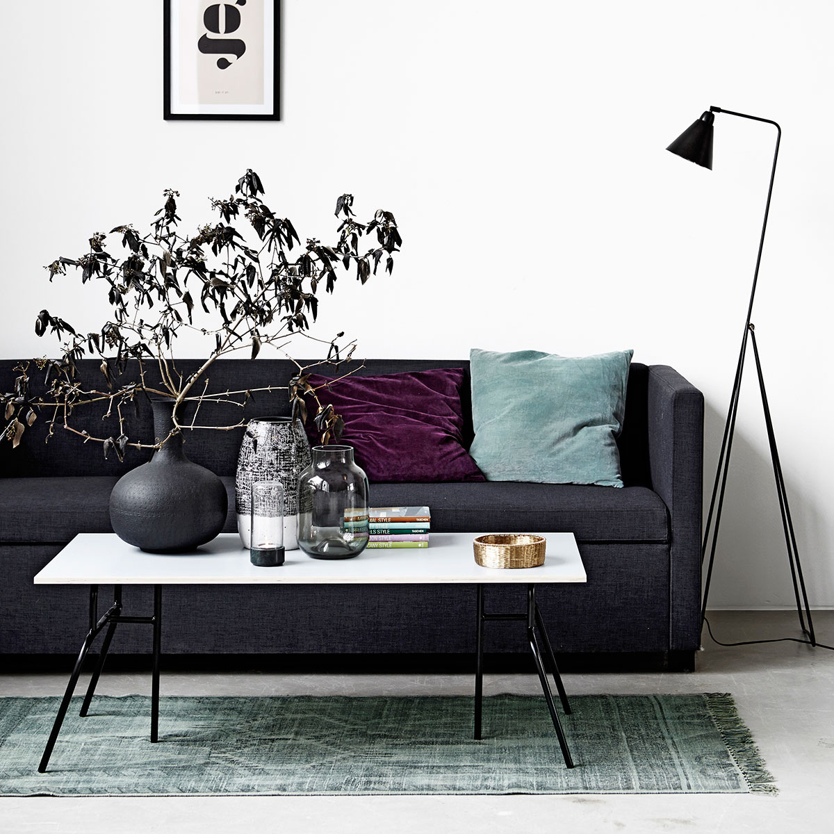 house doctor botton 3 pers sofa i flot koksgr farve. Black Bedroom Furniture Sets. Home Design Ideas