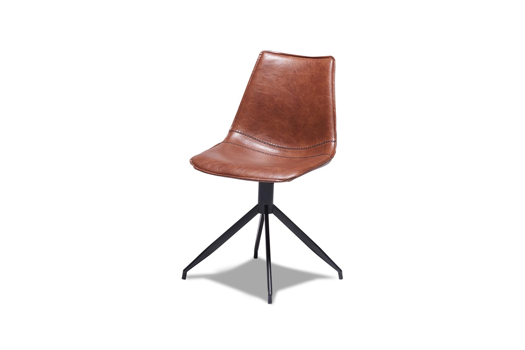 Isabel spisebordsstol - sort/brun kunstlæder, uden armlæn