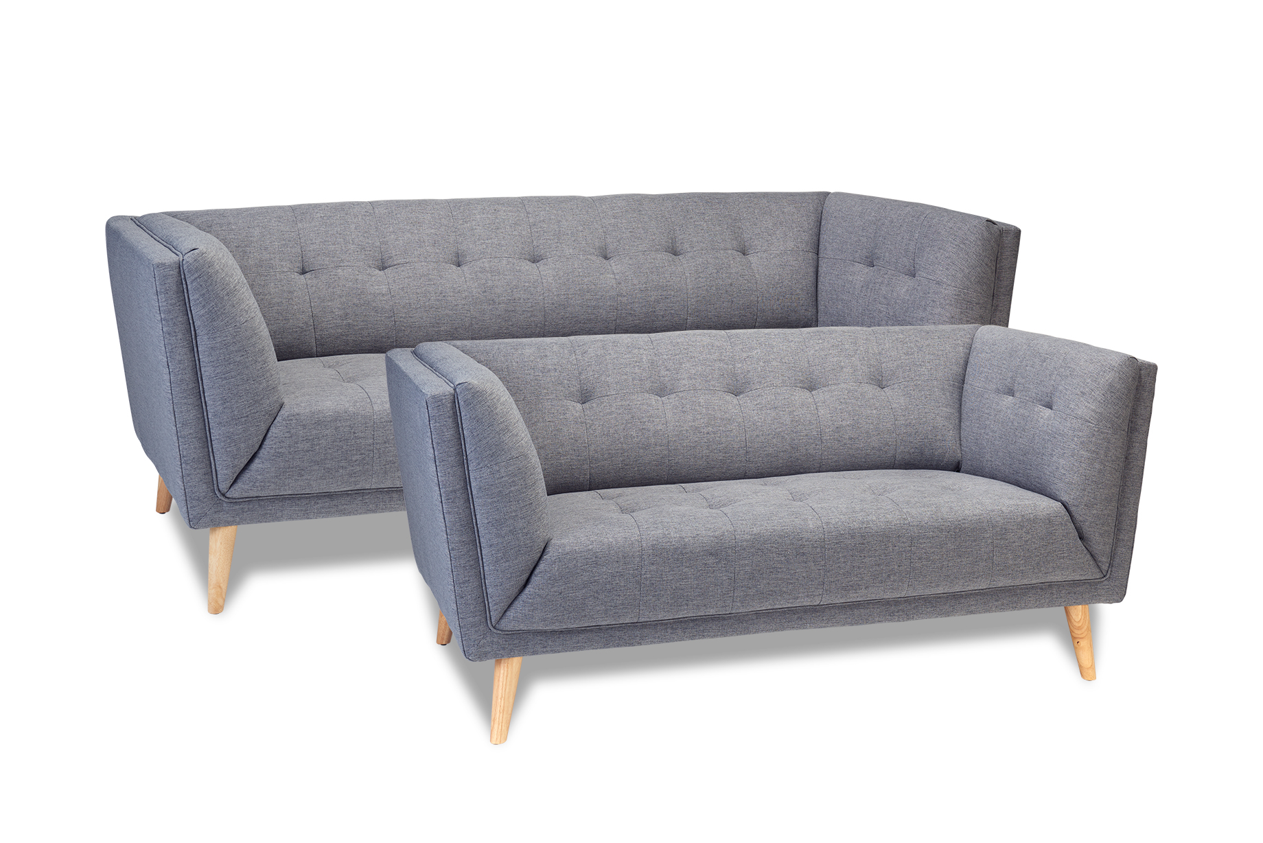 Palermo sofa - grå/naturfarvet stof, 3 personers sofa