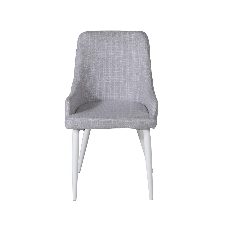 VENTURE DESIGN Plaza spisebordsstol, m. armlæn - lysegrå polyester og hvid metal