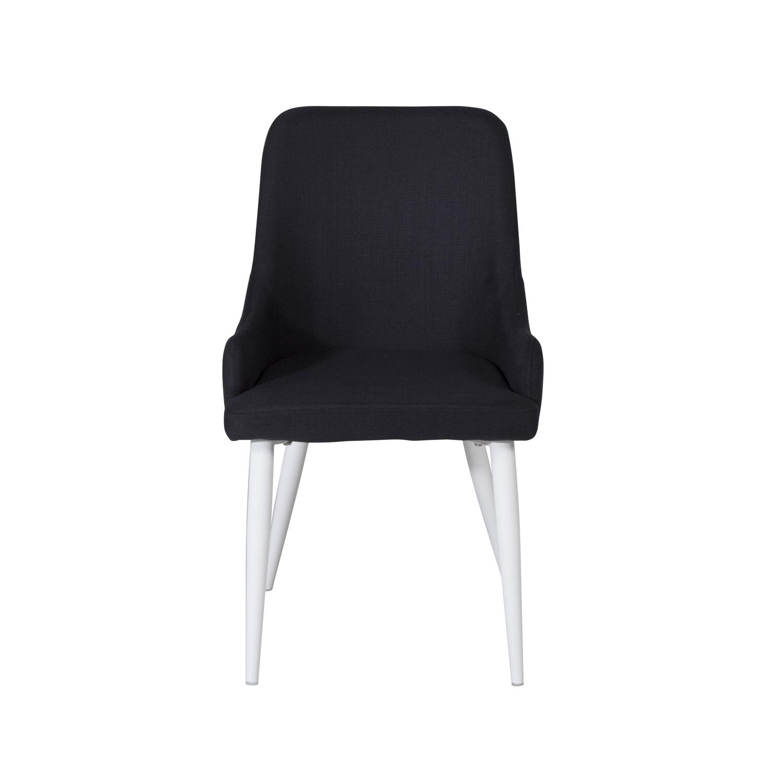 VENTURE DESIGN Plaza spisebordsstol, m. armlæn - sort polyester og hvid metal