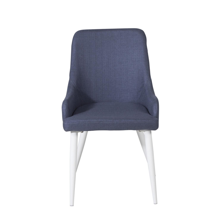 VENTURE DESIGN Plaza spisebordsstol, m. armlæn - blå polyester og hvid metal