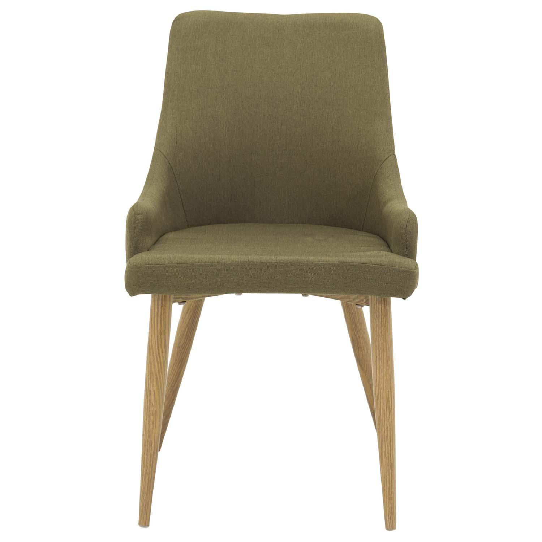 VENTURE DESIGN Plaza spisebordsstol, m. armlæn - grøn polyester og metal
