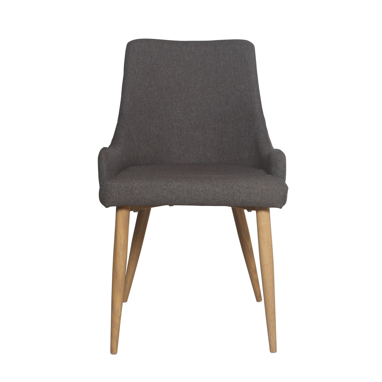 VENTURE DESIGN Plaza spisebordsstol, m. armlæn - mørkegrå polyester og metal
