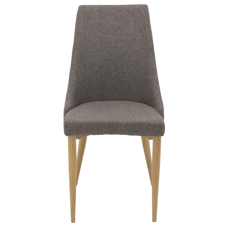 VENTURE DESIGN Leone spisebordsstol, m. armlæn - mørkegrå polyester og natur metal