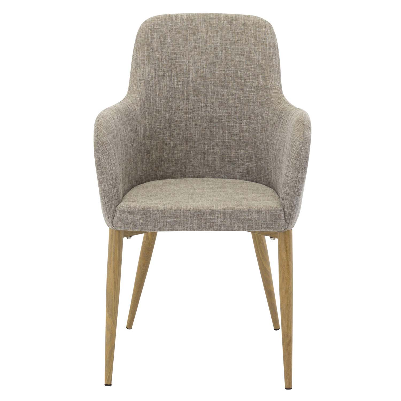 venture design Venture design comfort spisebordsstol, m. armlæn - lysegrå polyester og natur metal fra boboonline.dk