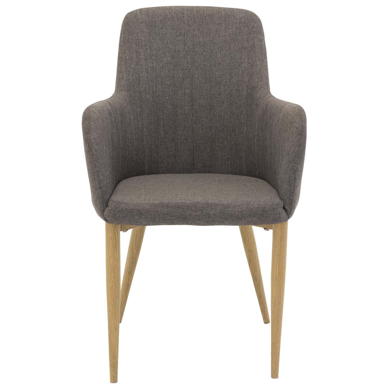 venture design – Venture design comfort spisebordsstol, m. armlæn - mørkegrå polyester og natur metal på boboonline.dk