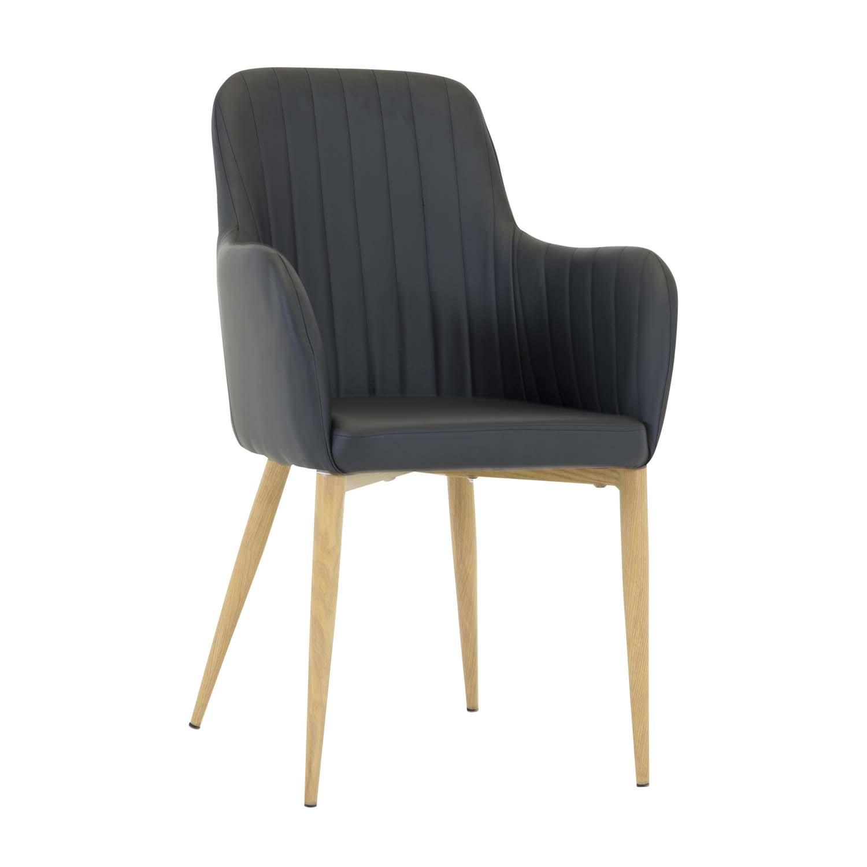 venture design – Venture design comfort spisebordsstol, m. armlæn - sort pu og natur metal fra boboonline.dk