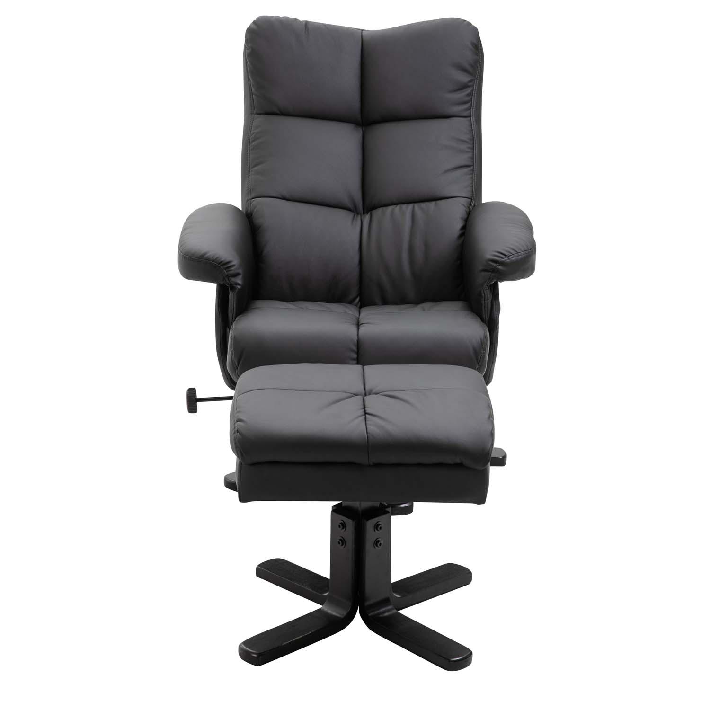 venture design – Venture design sven recliner lænestol m. fodskammel - sort pu og metal på boboonline.dk