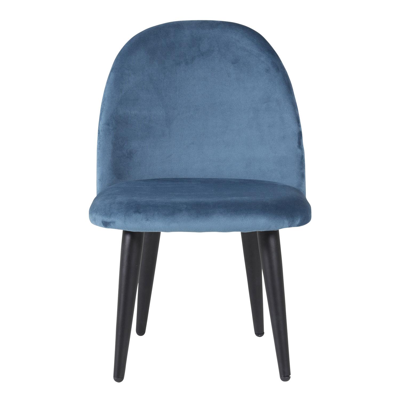 VENTURE DESIGN Velvet Chair XXS spisebordsstol - blå velour og metal