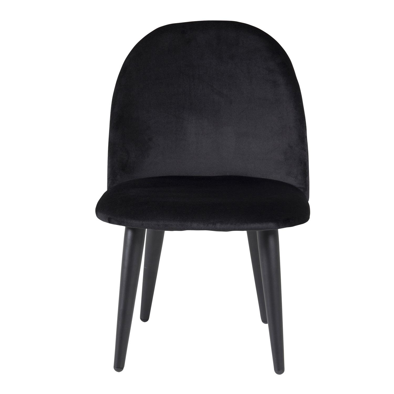 VENTURE DESIGN Velvet Chair XXS spisebordsstol - sort velour og metal