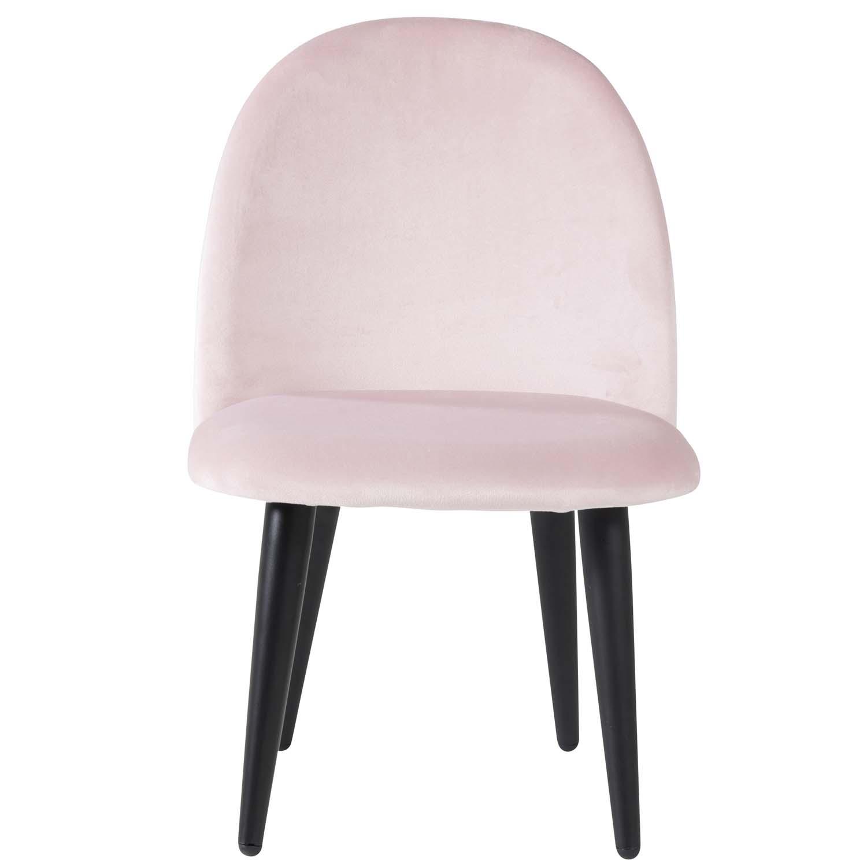 VENTURE DESIGN Velvet Chair XXS spisebordsstol - pink velour og metal