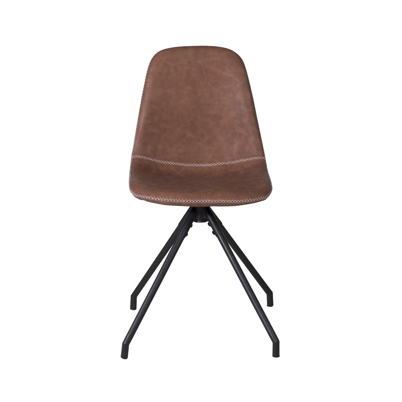 VENTURE DESIGN Polar spisebordsstol, m. drejefunktion - brun PU og sort metal