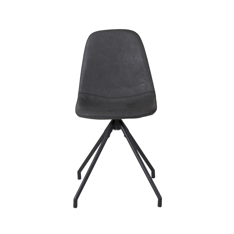 VENTURE DESIGN Polar spisebordsstol, m. drejefunktion - sort PU og sort metal