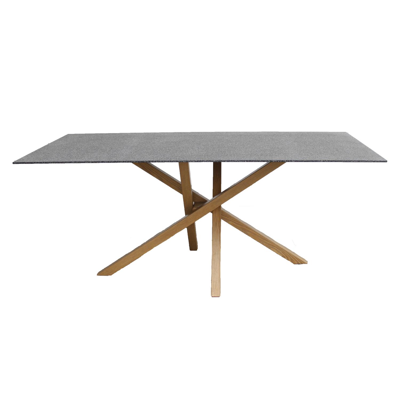 venture design Venture design piazza spisebord - grå sprayglas og natur metal (180x90) på boboonline.dk
