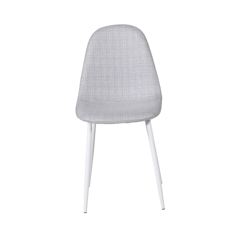 VENTURE DESIGN Polar spisebordsstol - lysegrå polyester og hvid metal