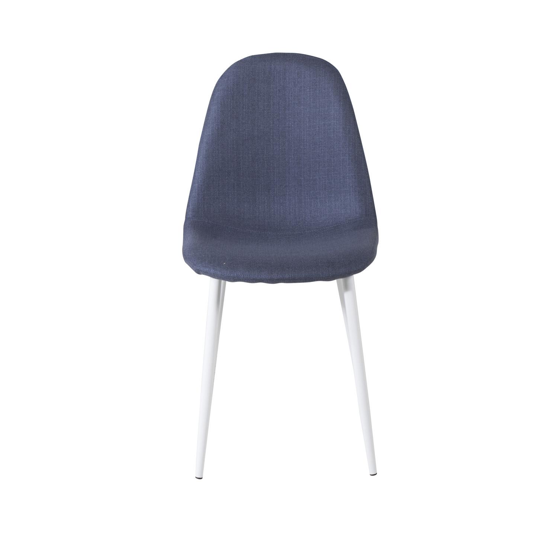 VENTURE DESIGN Polar spisebordsstol - blå polyester og hvid metal