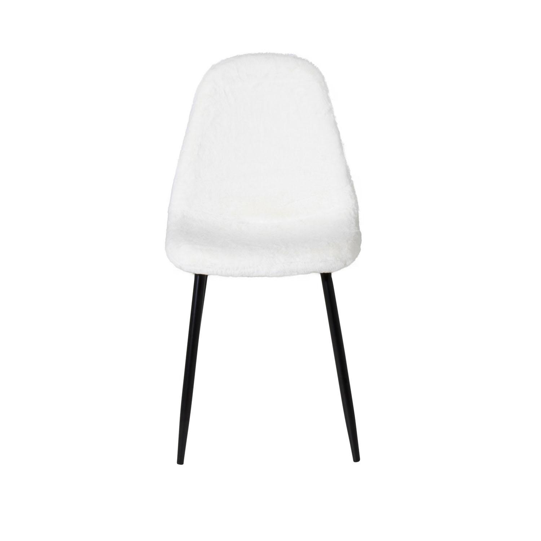 VENTURE DESIGN Polar Fluff spisebordsstol - hvid polyester teddystof og sort metal