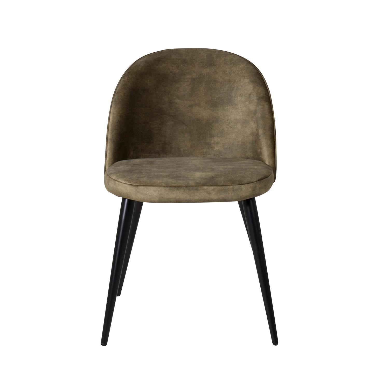VENTURE DESIGN Velvet spisebordsstol - grøn velour og sort metal
