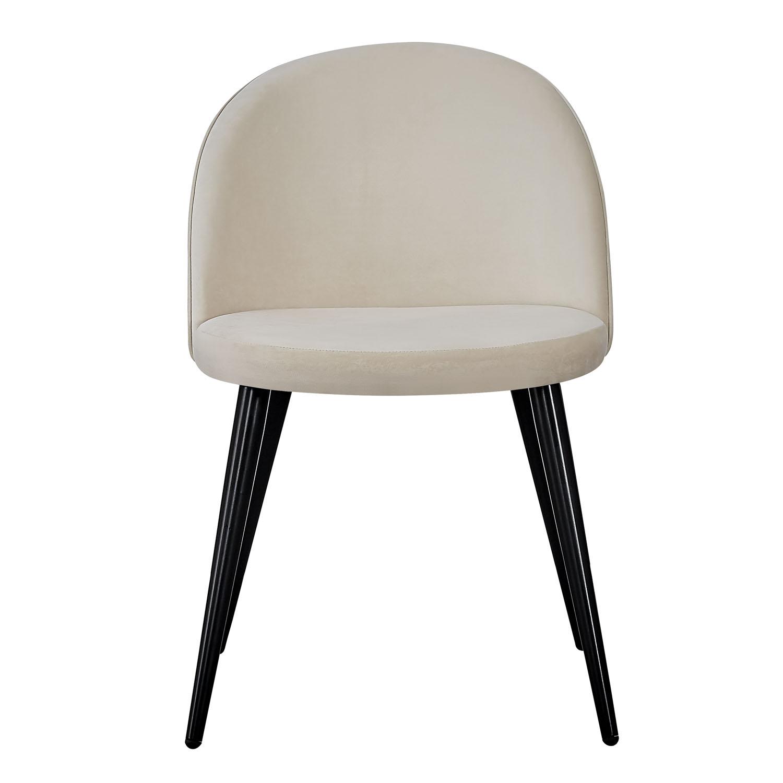 VENTURE DESIGN Velvet spisebordsstol, m. armlæn - creme velour og metal