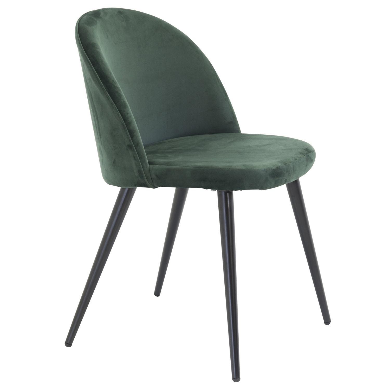VENTURE DESIGN Velvet spisebordsstol, m. armlæn - grøn velour og metal