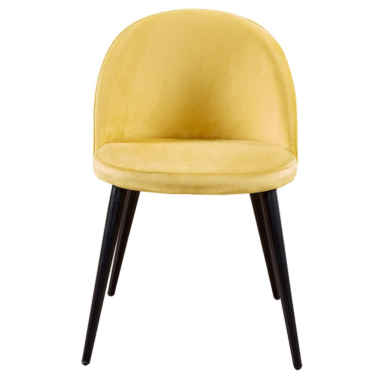 VENTURE DESIGN Velvet spisebordsstol, m. armlæn - gul velour og metal