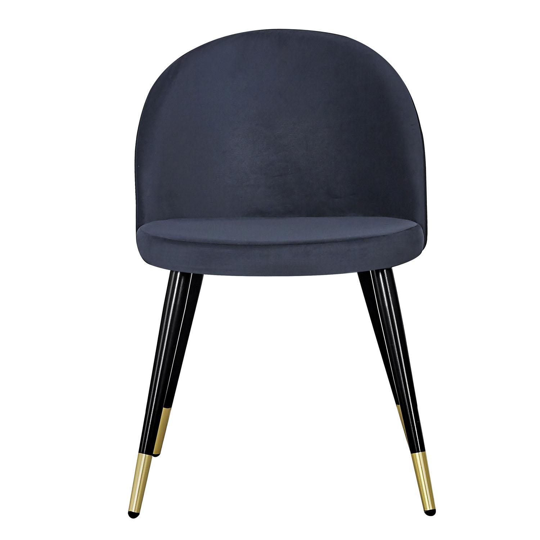 VENTURE DESIGN Velvet spisebordsstol, m. armlæn - sort velour og sort metal