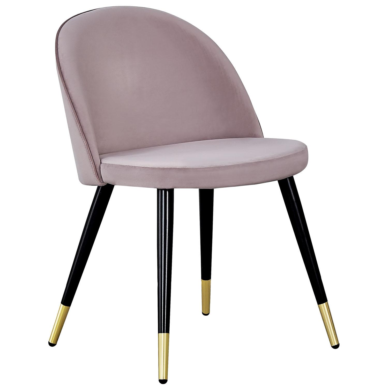 VENTURE DESIGN Velvet spisebordsstol, m. armlæn - gammelrosa velour og metal