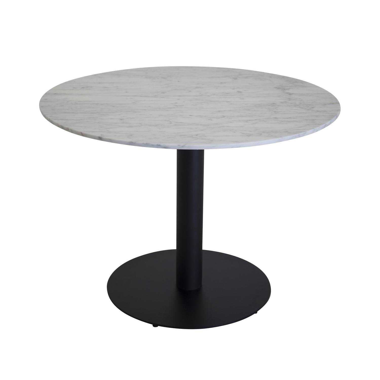 VENTURE DESIGN Estelle spisebord - hvid marmor og sort metal (Ø106)