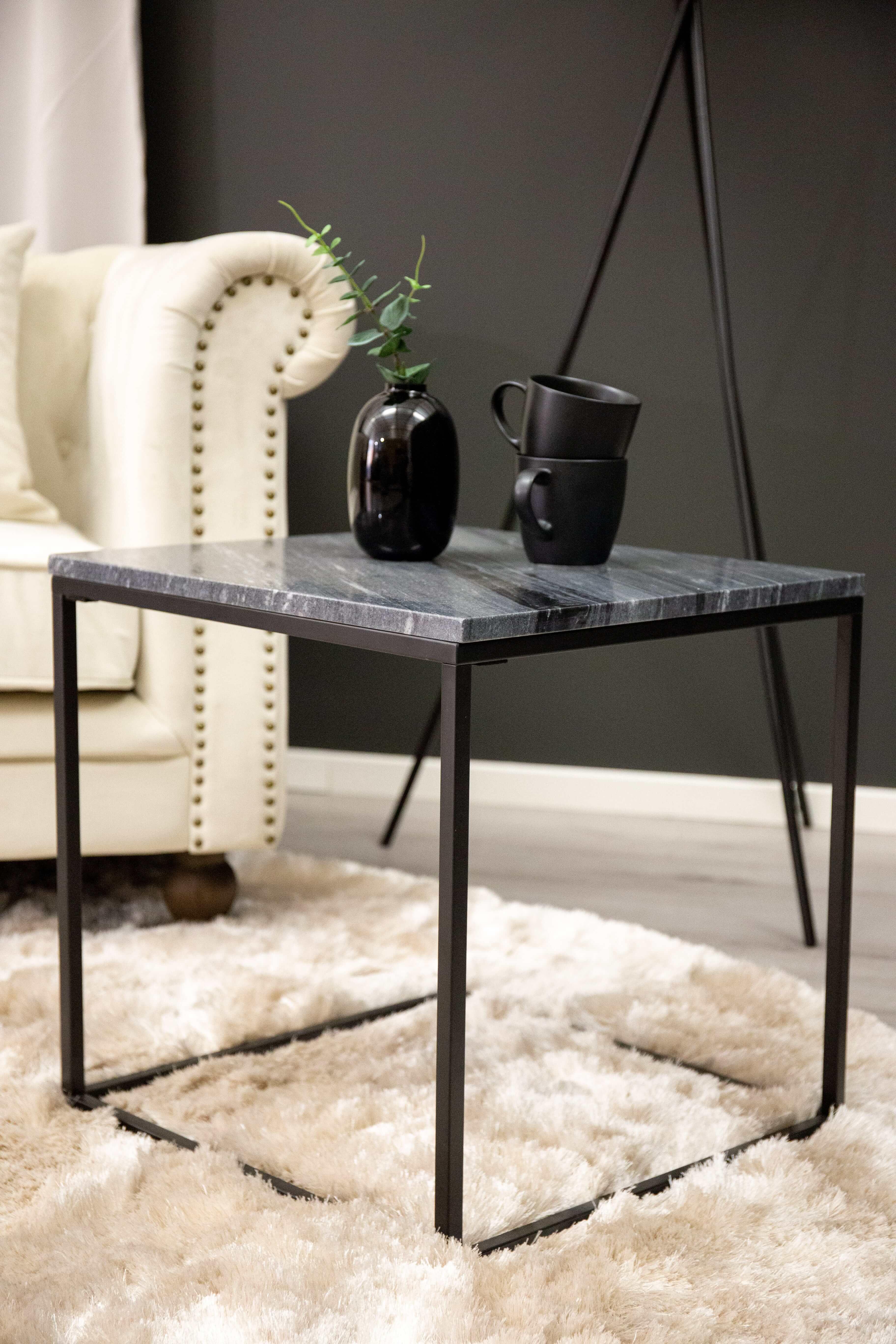 Billede af VENTURE DESIGN Estelle sidebord - sort marmor og metal (50x50)