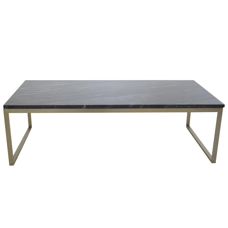 VENTURE DESIGN Estelle sofabord - sort marmor og messing metal (120x60)