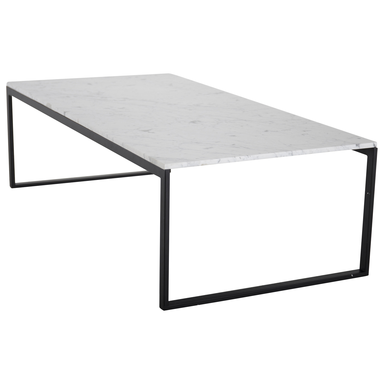 VENTURE DESIGN Estelle sofabord - hvid marmor og sort metal (120x60)