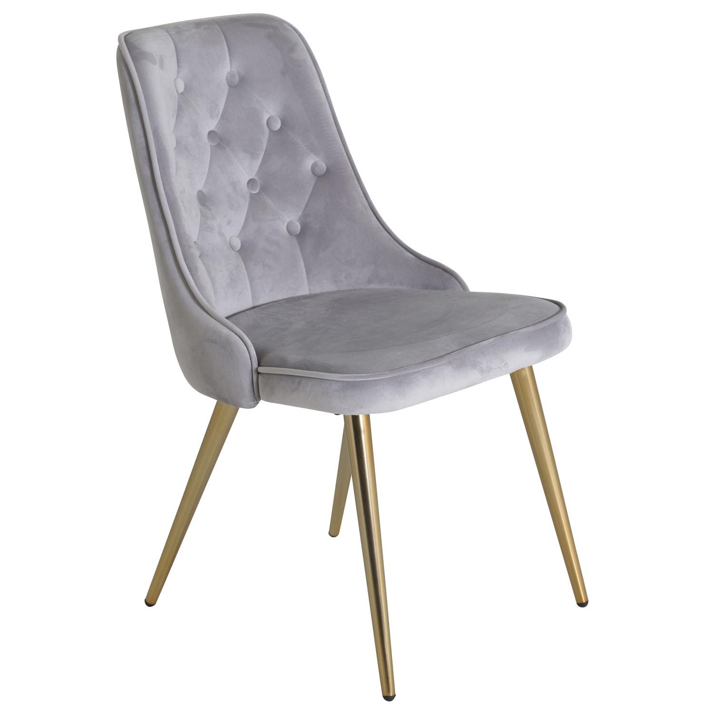 VENTURE DESIGN Velvet Deluxe spisebordsstol, m. armlæn - lysegrå velour og messing metal