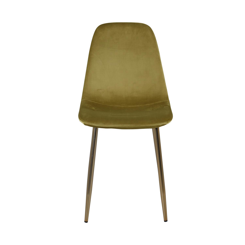 VENTURE DESIGN Polar spisebordsstol - grøn velour og messingfolie metal