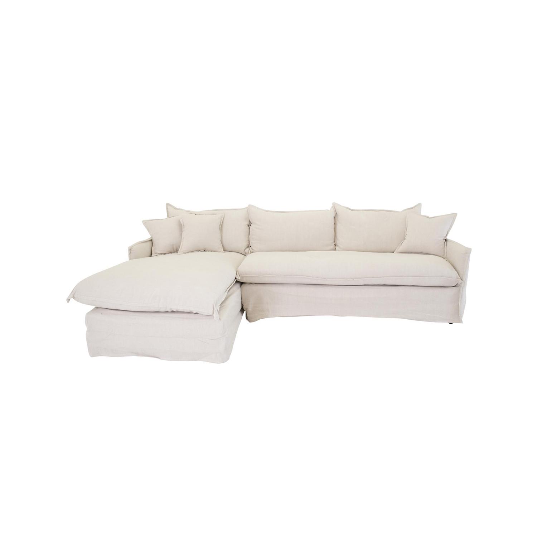 VENTURE DESIGN Nova sofa, m. chaiselong, højre - beige stof og plastik