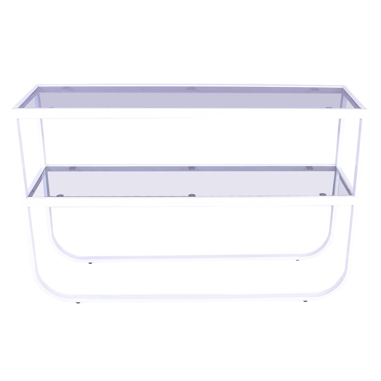 Billede af VENTURE DESIGN Rocker sidebord - grå glas og hvid metal (110x30)