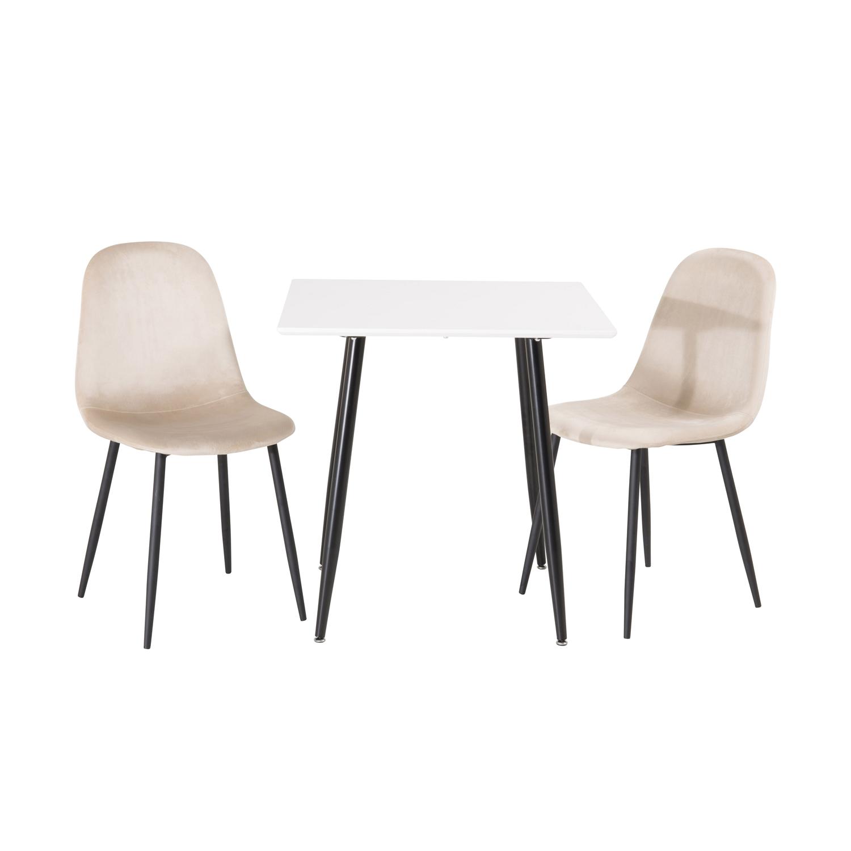 Venture design polar spisebord - hvid mdf og sort jern (75x75) fra venture design på boboonline.dk