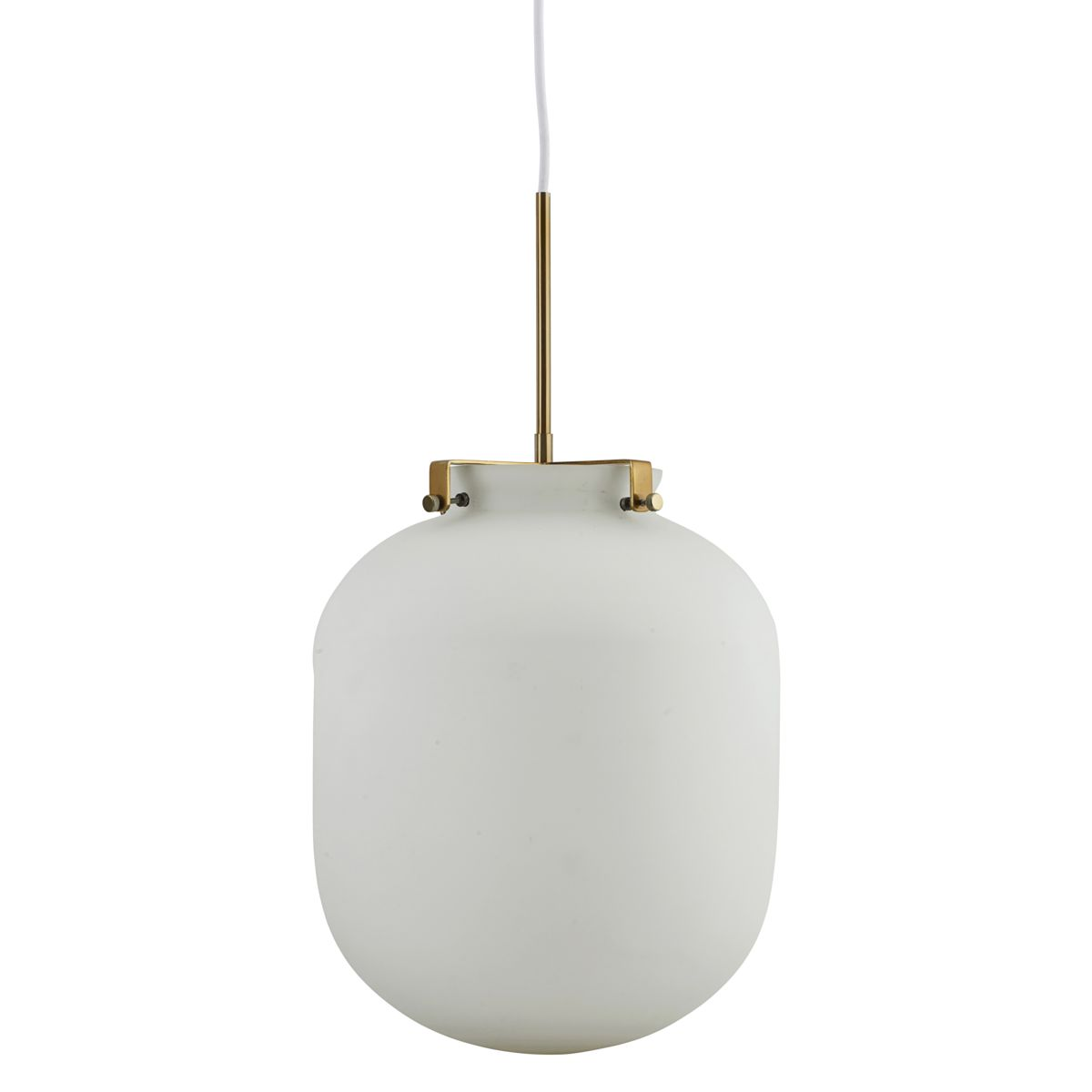 Image of   HOUSE DOCTOR Ball loftslampe - hvid glas og guld metal, oval (Ø 30)