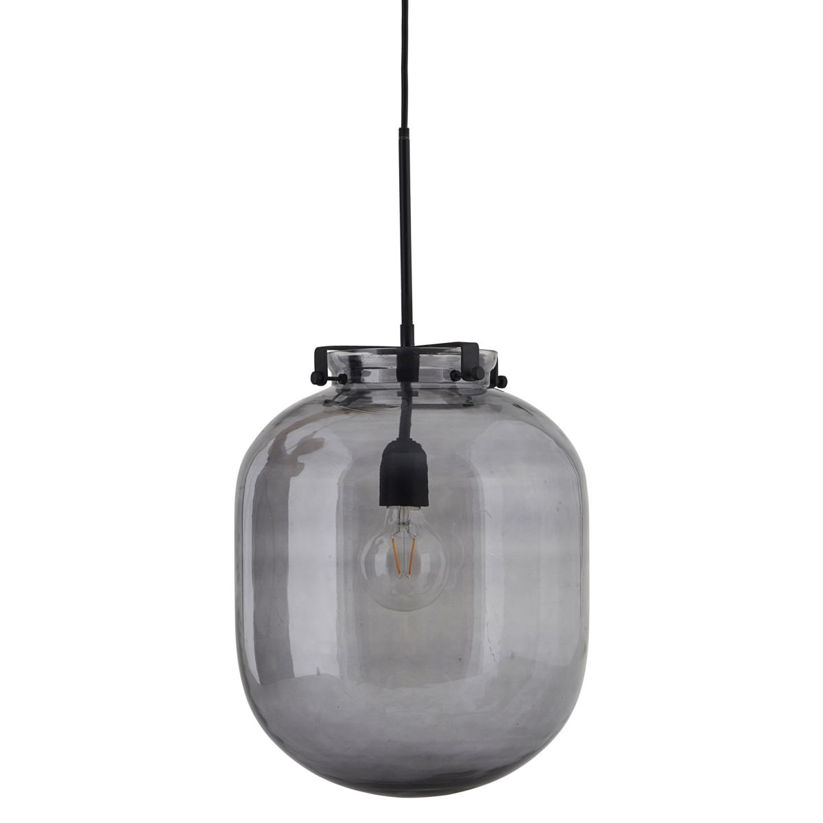 Image of   HOUSE DOCTOR Ball loftslampe - gråt glas og sort metal, oval (Ø 30)