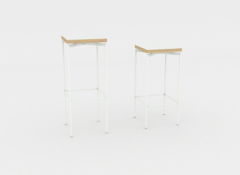 Jensenplus blackbox barstol, hvid, top: laminat på krydsfin?r fra jensenplus fra boboonline.dk