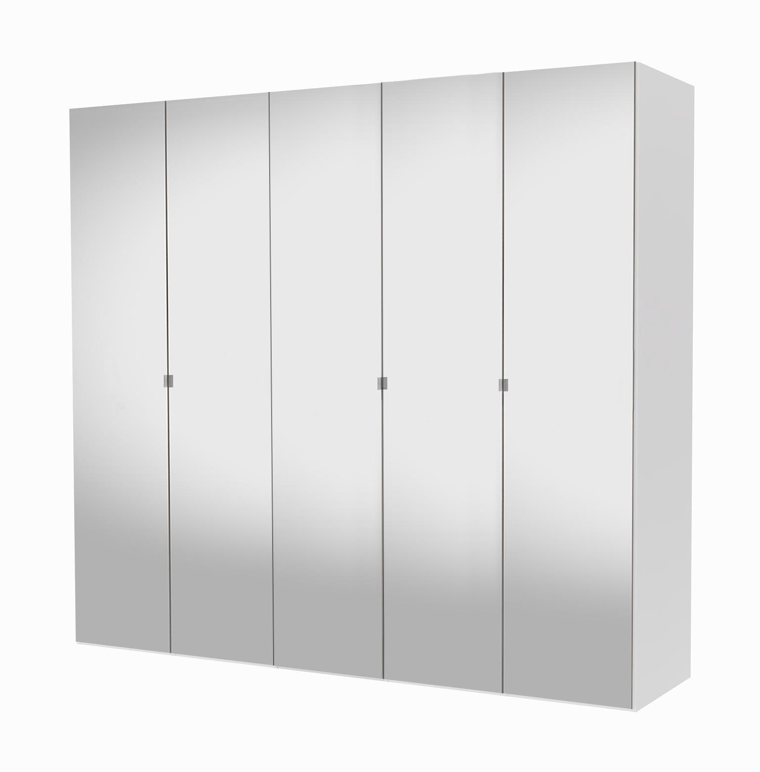 Save garderobeskab - hvid, m. 5 låger i spejlglas og 5 hylder