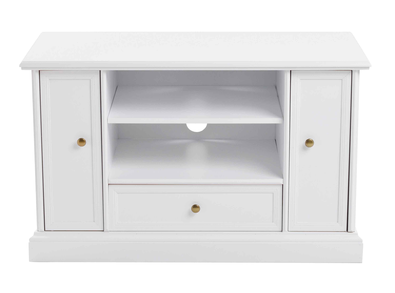 Torino TV-bord - Hvidt og lakeret træ, 2 låger, 1 skuffe og 1 hylde
