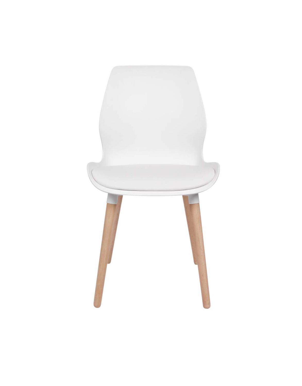 PREFORM Nemo spisebordsstol - hvid plastik og kunstlæder og hvidolieret eg
