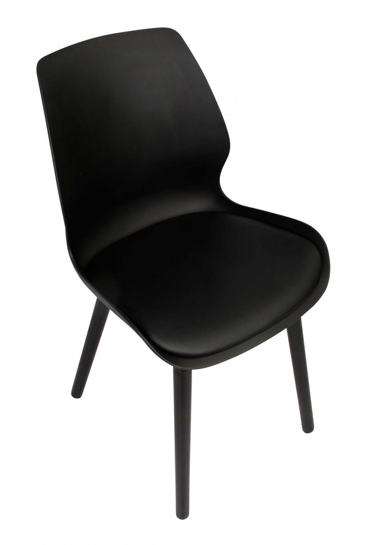 Preform nemo spisebordsstol - sort plastik og kunstlæder og sortakeret eg