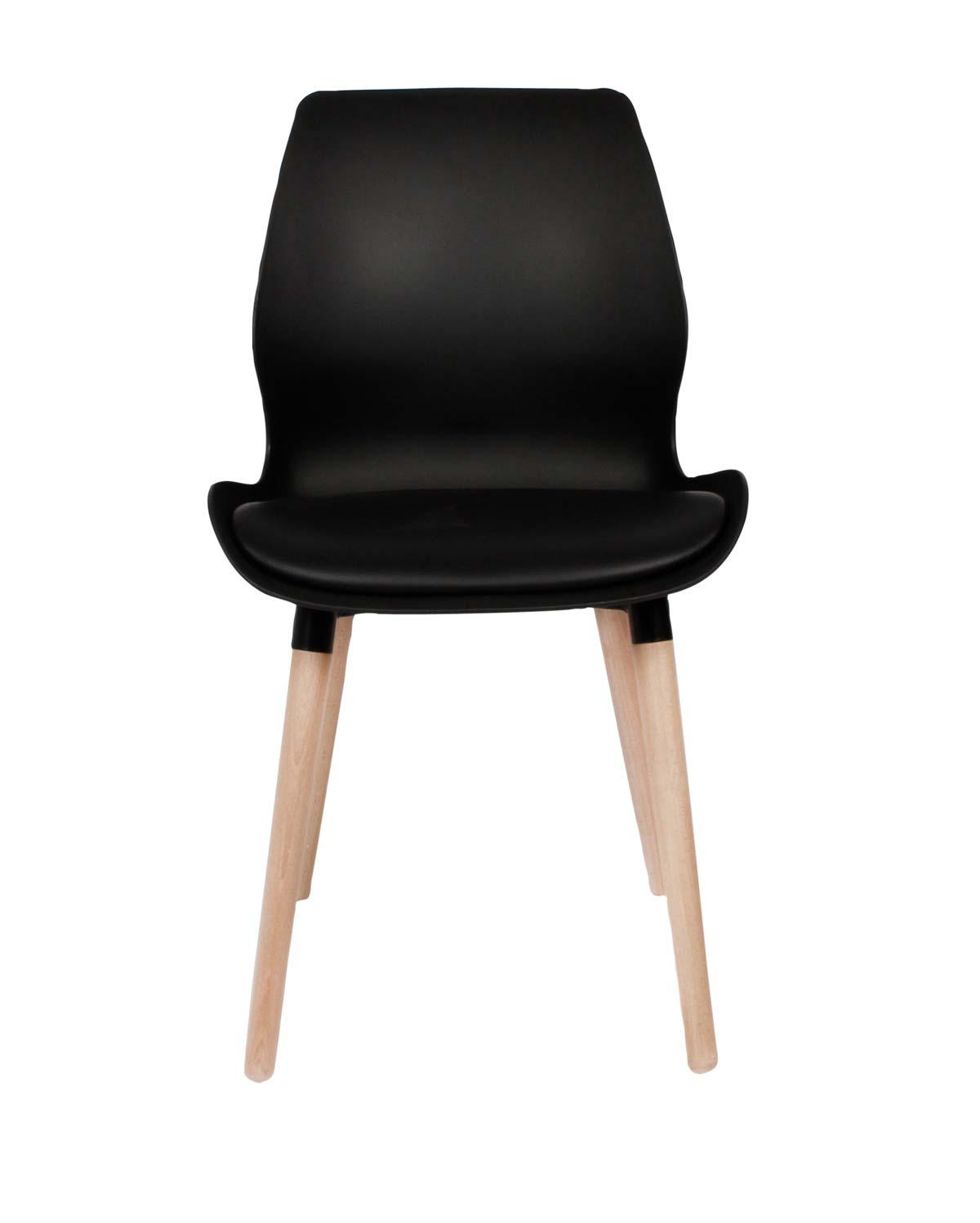 PREFORM Nemo spisebordsstol - sort plastik og kunstlæder og hvidolieret eg