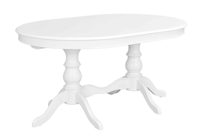Image of   Amadeus spisebord - hvidt træ, oval m. 2 tillægsplader (110x160)