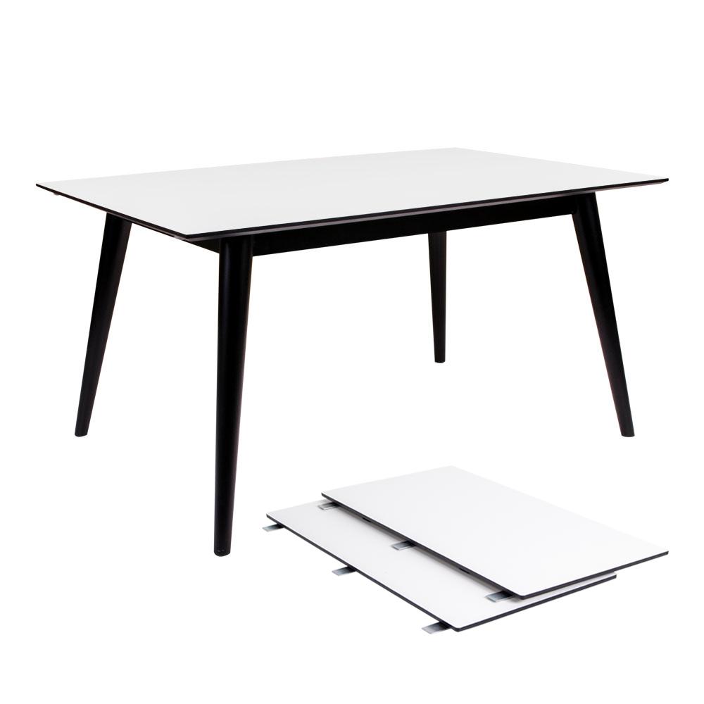 HOUSE NORDIC Copenhagen spisebord - hvid træplade og sort træstel, m. udtræk, incl. 2 tillægsplader (150x95)