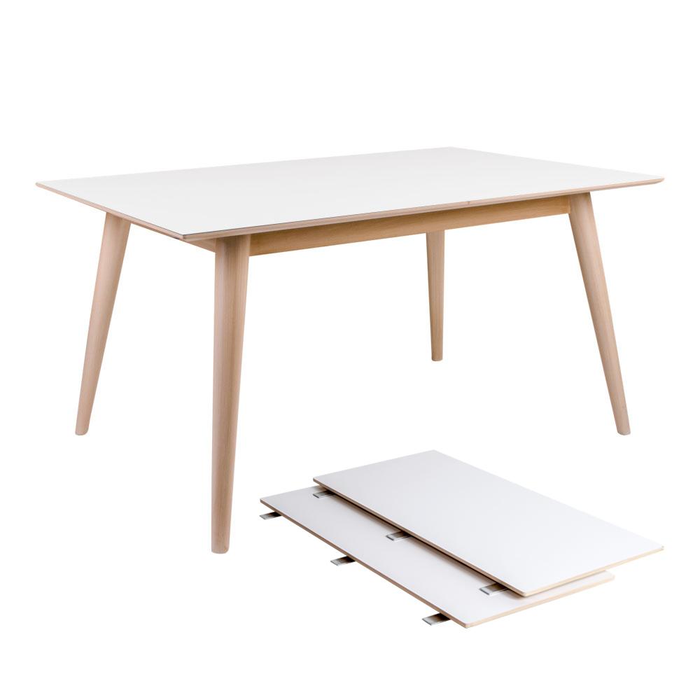 HOUSE NORDIC Copenhagen spisebord - hvid træplade og natur træstel, m. udtræk, incl. 2 tillægsplader (150x95)