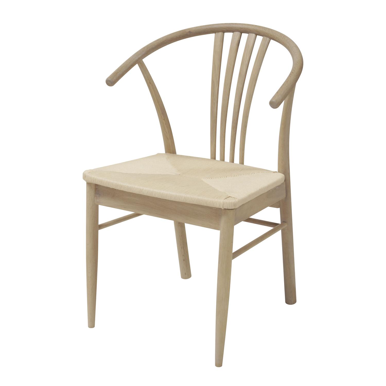 ACT NORDIC York spisebordsstol, m. armlæn - flettet papir reb og hvidolieret eg